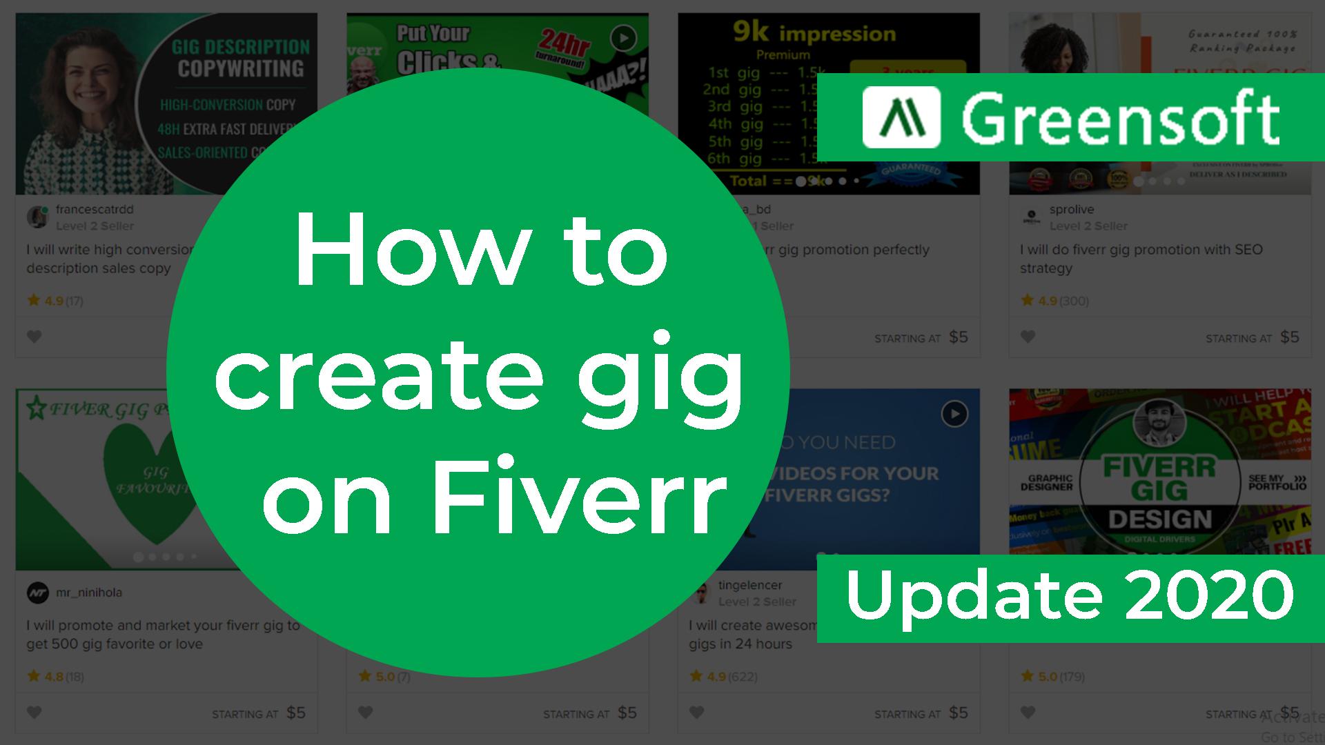 How to create a gig on Fiverr, greensoft dhaka